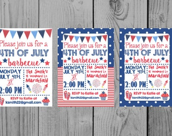 Printable Fourth Of July Invitation 4th Of July Invitation Fourth Of July Party 4th Of July Party Barbecue Invitation BBQ 4th July Cookout