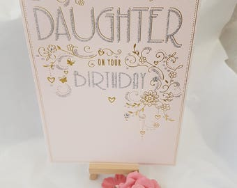 Special Daughter Birthday card, Gold and Pink Deco style Daughter greeting card, Pretty card for a Daughter with glitter and diamante trim