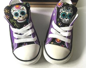 Sugar Skull Converse, Purple Custom Converse, Sugar Skull, Floral Converse, Skulls Converse