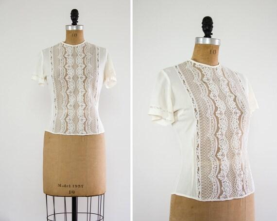 vintage 1950s blouse   50s ivory lace top   nylon blouse   lace shirt   vintage white blouse
