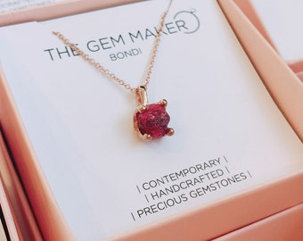 Raw Ruby Necklace. Rose Gold Ruby Necklace. July Birthstone Necklace. Ruby Pendant. Ruby Gold Necklace. Rose gold necklace. Raw Gemstone.