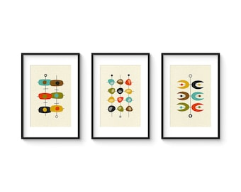 Mid Century Set no.5 - Collection of (3) Giclee Prints - Abstract Mid Century Modern