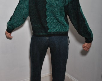 Street Scenes Turquoise Knit Shape Chevron shifting sweater // patchwork XL dad Cardigan