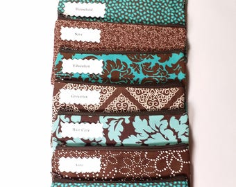 Budget Envelope System, Cash Envelope Wallet, Pouch and 5 to 15 Envelopes -Brown & Teal Prints- (It can be used with the Dave Ramsey system)