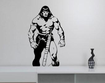 Conan the Barbarian Wall Sticker Gladiator Comics Superhero Vinyl Decal Art Swordsman Decorations for Home Dorm Room Bedroom Movie Decor cb3