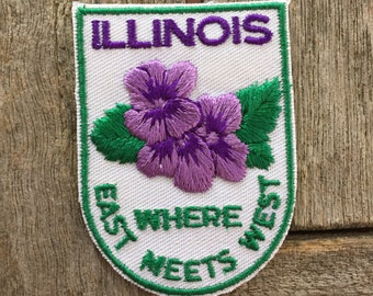 Illinois Where East Meets West Vintage Souvenir Travel Patch from Voyager