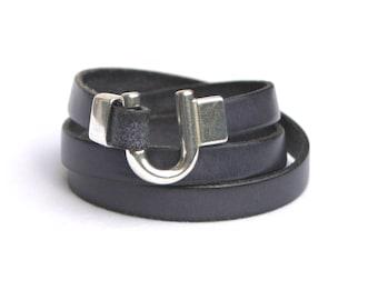 Leather Bracelet Wrap Charcoal Grey