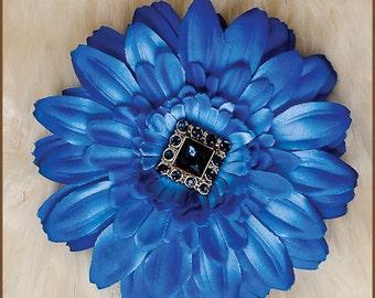 Blue Flower Hair Clip  - Blue Daisy Hair Clip - Bridesmaid Hair Clip - Baby Hair Clip - Wedding