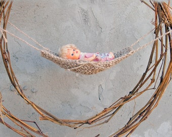 Miniature hammock, 1:12 scale hammock, Miniature jute hammock, Fairy garden miniature, Diorama mini hammock, Barbie baby hammock
