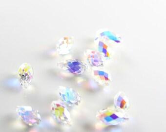 2pcs Swarovski Drop 6010 Briolette-Crystal AB 11x5.5mm (SW90001)