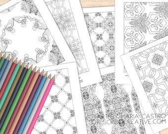 Adult Coloring Page - Pretty Patterns, 7 Coloring Pages; Art by Maria Castro of Scribo Creative