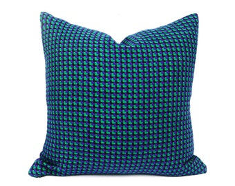 Houndstooth Pillow Covers, Teal Pillows, Sofa Pillows, Blue Green Pillow, Emerald, Violet Blue, Plaid Throw Pillow, Lodge Decor 20x20