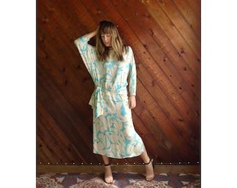 Floral Aqua Silk Dolman Maxi Dress - Vintage 70s 80s - S/M Tall