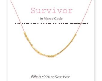 Survivor necklace or bracelet, Unique Gift, secret message necklace, Morse Code, Gifts for Women, Graduation gift, Mother's day