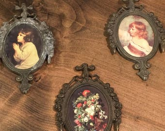 Antique/Vintage Made in Italy Set of 3 Brass Oval Frames w/ flower & child print