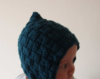 baby bonnet pattern - baby pixie hat pattern - pdf knit baby and newborn bonnet pattern