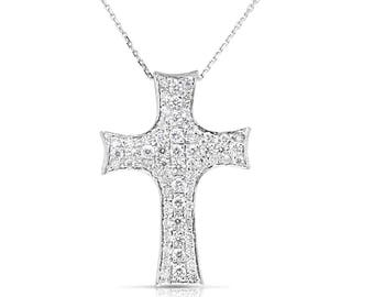 Diamond cross pendant necklace 14k white gold cross women diamond cross pendant necklace 14k white gold cross women cross pendant religious jewelry aloadofball Image collections