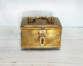 Vintage Brass Box Cricket Cage, India Incense Stash Box, Hinged Brass Box with Hasp
