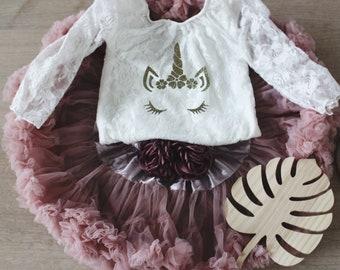 Girls Unicorn Birthday Outfit - Unicorn Party Birthday Outfit - Girls Dusty Pink Mauve Tutu - Lace Onesie