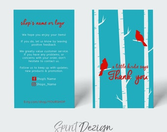 The Birds thank you business card design + Printing (optional) + FREE USA SHIPPING