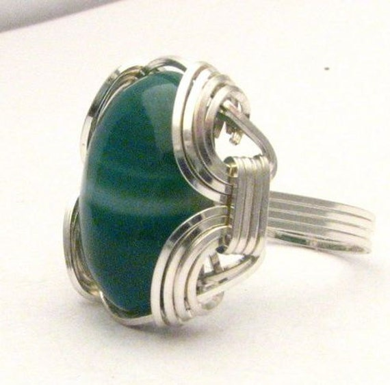 Wire Wrapped Green Sardonyx Gemstone Sterling Silver Ring.  Custom Sized to fit you.