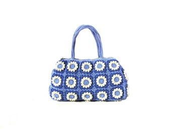 Flower crochet bag bohemian purse  hippie flower bag boho crochet purse blue crochet bag hippie bag crochet summer bag eco friendly bag