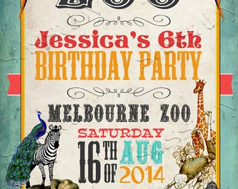 Vintage Zoo Party Poster - INSTANT DOWNLOAD - DIY Editable & Printable Birthday Decorations by Sassaby