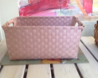 Planter or basket shabby chic pink, pink rattan basket, wicker basket, pink sneakers