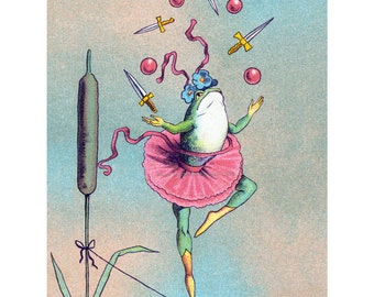 Frog Greeting Card - Juggling Acrobat in Tutu on High Wire - Circus Performer Card
