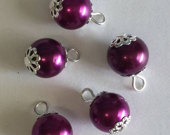 5 pendants 10mm magenta glass pearl beads