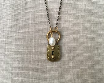 VIntage Brass Lock and Freshwater Pearl on Oxidized Sterling Silver Chain