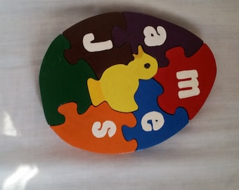 name puzzle, wooden puzzle, personalized puzzle, wood puzzle, egg puzzle, animal puzzle, child's puzzle, baby puzzle, customized puzzle,
