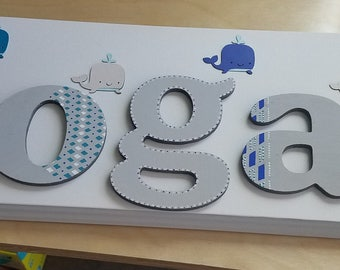 Whale name sign plaque nursery baby