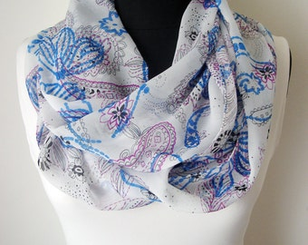 Infinity scarf, Viscose Scarf, Women Scarves, Fabric Accessories, Scarf Blue White, Chiffon Scarf, Light scarf, Gift Ideas, Girl gift Teen