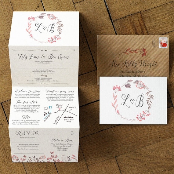 Summer Meadow Concertina Wedding Invitation and Save the Date