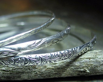 Sterling Silver Patterned Bangles Set of 3 - Nouveau Romance