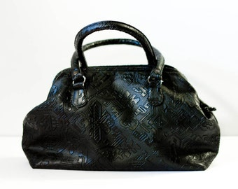 Vintage black handbag, faux tooled leather purse, abstract tribal, 1980s Taiwan ROC