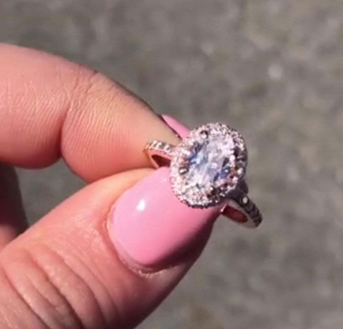 14K Rose Gold Ladies Diamond Halo Ring w/ Oval Morganite - FIT