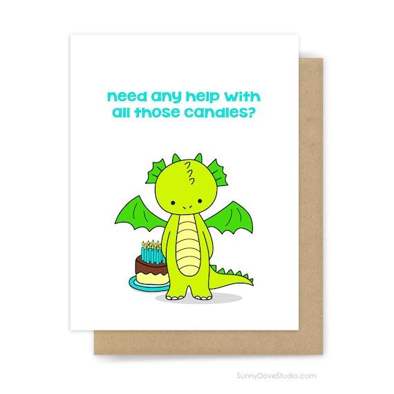 Funny Birthday Card For Him Her Friend Cute Fun Dragon Pun