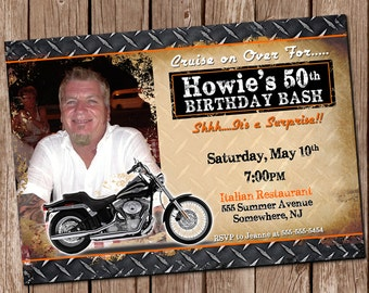 Motorcycle invite motorcycle birthday motorcycle party harley davidson party invitation 5x7 digital file print it yourself filmwisefo Image collections