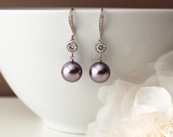 Purple Wedding Jewelry Jacaranda Purple Pearl Earrings Mauve Purple Bridesmaid Earrings Drop Earrings Lavender Wedding Bridesmaid Gift