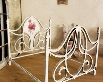 Miniature dollhouse wrought iron style double bed 1:12 scale unfinished or finished