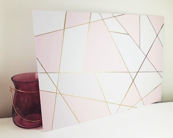 A3 Decor Print in Blush Pink with Embossed Gold Detail - Unframed