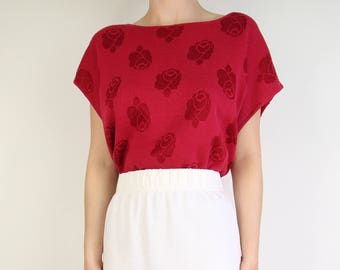 VINTAGE Rose Sweater 1980s Knit Top Red Large