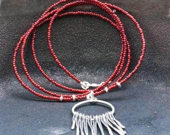 Long Fringe Necklace, Boho Long Pendant Red Necklace, Sterling Silver Spike Necklace, Fashion Tassel Necklace, Unique Necklace Gift for Her