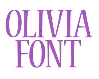 "Olivia Font Machine Embroidery Design Pattern in 4 sizes 2"", 3"", 4"" and 5"""