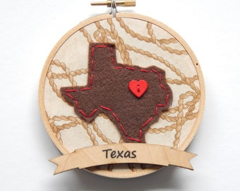 Custom State Embroidery Hoop Ornament on Western Fabric