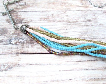 Boho Beaded Tassel Necklace - Bohemian Long Tassel Necklace - Long Boho Fringe Necklace - Bohemian Fringe Necklace - Cross Tassel Necklace