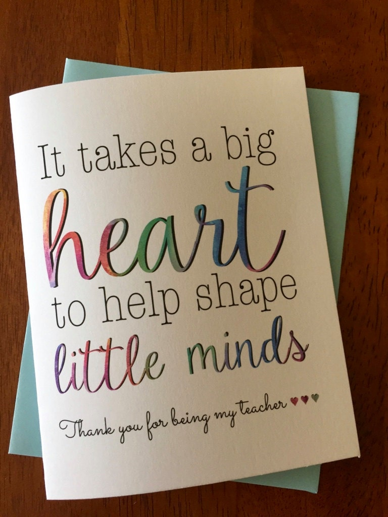 To My Teacher Greeting Cardteacher Thank You Card It Takes A