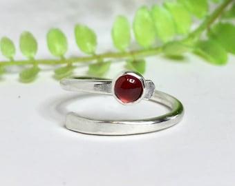 Garnet Ring, Sterling Silver Wrap Ring,  Adjustable Ring, Thumb Ring, Knuckle Ring, Wrap Ring, Red Ring, Silver Stacking Ring